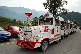 Gruyères - Trackless train in Gruyères
