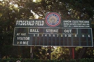 Central Park (San Mateo) - Scoreboard at Fitzgerald Field