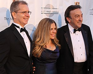 Chris Buck - Buck with Frozen co-director Jennifer Lee and producer Peter Del Vecho