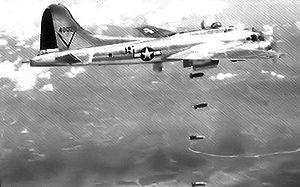 49th Test and Evaluation Squadron - Gleaming in the warm sunlight, Lockheed/Vega B-17G-45-VE Fortress 44-8020 was the lead aircraft for the 49th Bombardment Squadron from 23 July 1944 until VE-Day. Seen dropping 500-lb RDX bombs just weeks after its arrival in the MTO. the aircraft had its radar 'dustbin' extended, although the lack of cloud on this particular day would surely have meant that the bombardiers attacked using their Norden sights. (USAAF Photograph)