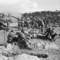 5.5-inch guns of 235 and 336 Medium Batteries, Royal Artillery, fire in support of the Rhine crossing, 21 March 1945. B15772.jpg