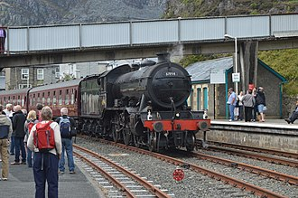 """Conwy Valley line - LNER K4 no 61994 The Great Marquess in the loop at Blaenau Ffestiniog after arriving with """"The Welsh Mountaineer"""" on Tue 29 July 2014."""
