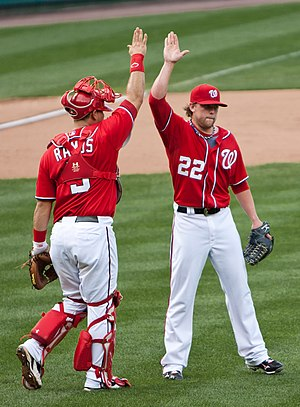 High five - The gesture might have originated in American professional sports. Picture of Drew Storen (right) and Wilson Ramos of the Washington Nationals (2011).
