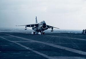 A-7E VA-93 landing aboard USS Midway (CV-41) in 1983.JPEG