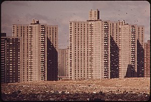 Co-op City, Bronx - Co-op City in 1973; the lot in the foreground is a dump