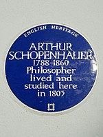 ARTHUR SCHOPENHAUER 1788-1860 Philosopher lived and studied here in 1803.jpg