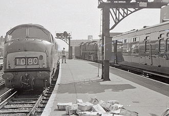 "British Rail Class 42 - A ""Warship"" and a BR Class 5 4-6-0 at London Waterloo, 1967"