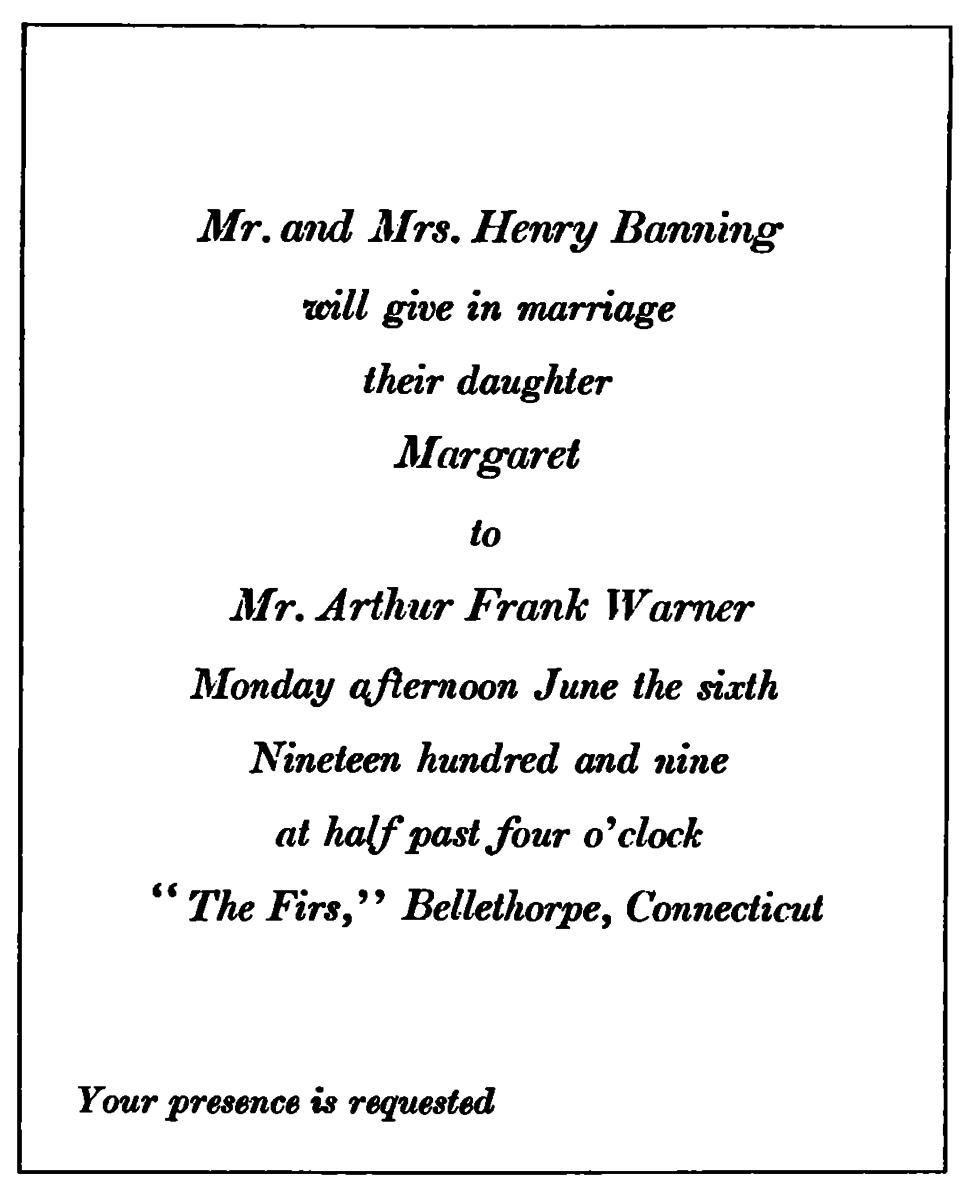 wedding invitation from 1909
