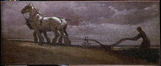 Cecil Aldin - A Land Girl Ploughing (1918)(Art.IWM ART 2618)