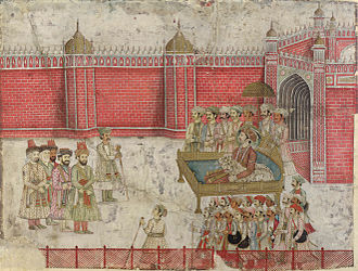 Nader Shah's invasion of the Mughal Empire - The Mughal Emperor's envoy and the Afsharid delegation negotiate.