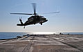 A U.S. Army UH-60 Black Hawk helicopter with the 12th Combat Aviation Brigade prepares to land on the flight deck of the amphibious command ship USS Mount Whitney (LCC 20) June 12, 2013, in the Baltic Sea during 130612-N-PE825-096.jpg