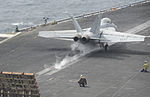 A U.S. Navy F-A-18F Super Hornet aircraft assigned to Strike Fighter Squadron (VFA) 154 launches from the aircraft carrier USS Nimitz (CVN 68) Aug. 20, 2013, while underway in the Gulf of Oman 130820-N-TW634-022.jpg