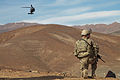A U.S. Soldier with the 3rd Brigade Combat Team, 10th Mountain Division provides security at a landing zone outside of Combat Outpost Koh-e-Safi, Parwan province, Afghanistan, March 12, 2014 140312-A-IY570-139.jpg