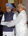 A delegation from Bihar led by the Union Railway Minister, Shri Lalu Prasad calling on the Prime Minister, Dr. Manmohan Singh, in New Delhi in connection with the prevailing flood situation in Bihar, on August 26, 2008 (1).jpg