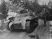 A german PzKpfw I passing a norwegian roadblock at Bergsund
