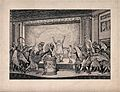 A performance of the play Birds by Aristophanes; a man is pe Wellcome V0040121.jpg