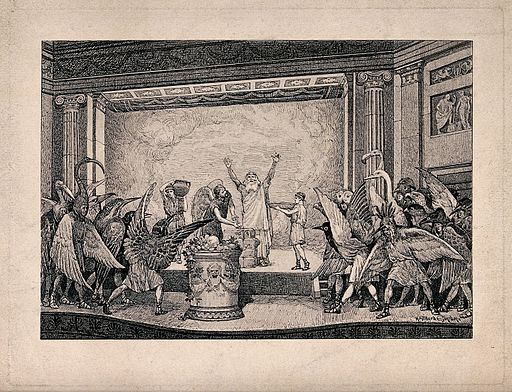 A performance of the play Birds by Aristophanes; a man is pe Wellcome V0040121