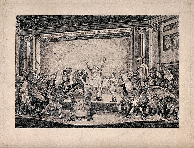 A performance of The Birds by Aristophanes