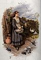 A young girl is feeding the birds at her feet. Coloured lith Wellcome V0040791.jpg