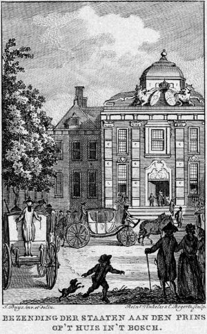 Act of Guarantee - The States General delegation arrives at Huis ten Bosch palace, 10 July 1788. Engraving by Reinier Vinkeles, Rijksmuseum collection.
