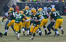 Aaron Rodgers handing the ball off to Grant, who is running toward the offensive line.