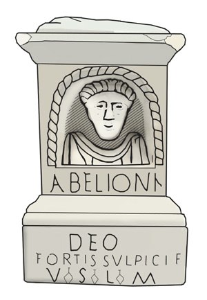 Abellio - Drawing of a Gallo-Roman votive altar dedicated to Abellio, found in the village of Garin, Haute-Garonne, France