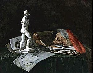Abraham Susenier - Vanitas with skull, feathers, roemer, sculpture, and drawings