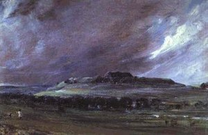 Rotten and pocket boroughs - Old Sarum in Wiltshire, an uninhabited hill which until 1832 elected two Members of Parliament. Painting by John Constable, 1829
