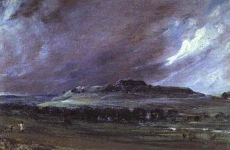 Unreformed House of Commons - Old Sarum in Wiltshire, an uninhabited hill that elected two Members of Parliament. Painting by John Constable, 1829.