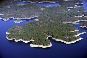 Lake Ouachita - Aerial view of Lake Ouachita, looking towards the West