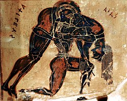 Aias Carrying Body of Achilles - detail from Francois vase c 565 BCE fForence Italy Arch Museum.jpg