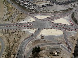 Al Farooq Junction under construction at former site of Pearl Roundabout.jpg