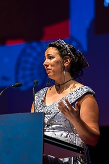 Amal El-Mohtar, winner of the Best Short Story Hugo, at the Hugo Award Ceremony 2017, Worldcon in Helsinki.jpg