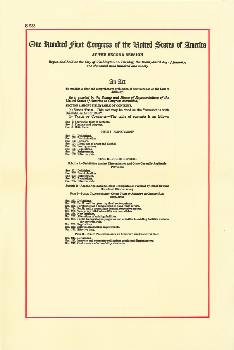 Americans with Disabilities Act of 1990, page 1.jpg
