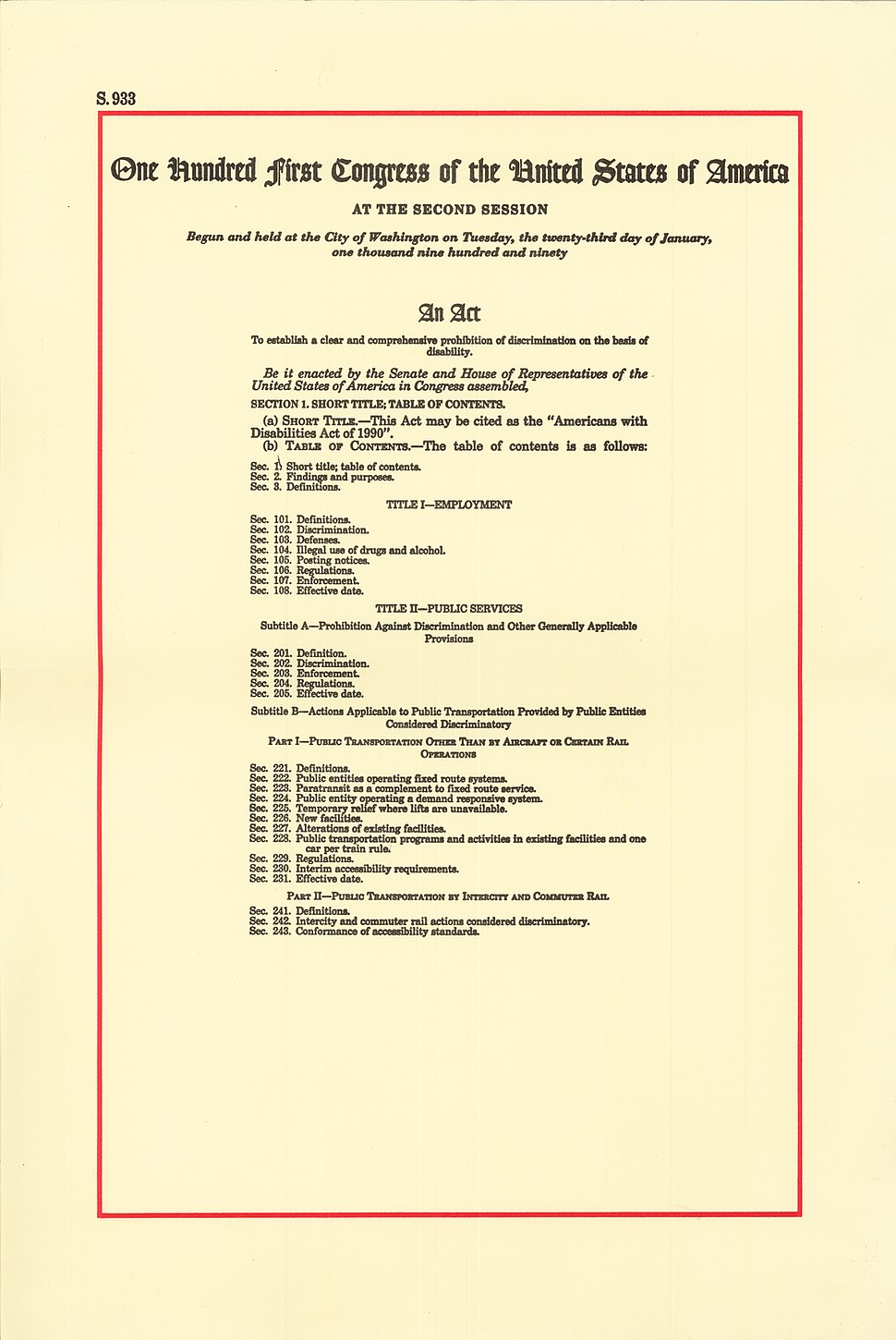 Americans with Disabilities Act of 1990, page 1