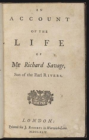 Richard Savage (poet) - Title page of Life of Mr Richard Savage
