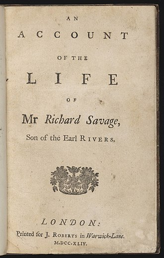 Life of Mr Richard Savage - Title page of Life of Mr Richard Savage