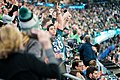 An Eagles fan reacts to a play on the field during the final seconds of Super Bowl LII, Minneapolis MN (39220741775).jpg