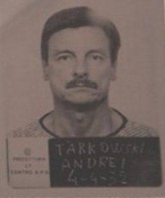 Andrei Tarkovsky - Mug shot of Andrei Tarkovsky at the Refugee Camp of Latina (Italy) in 1985