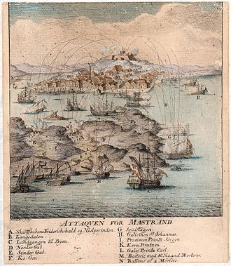 Jacob Fosie - The Attack on Marstrand 1719 by Jacob Fosie, 1719