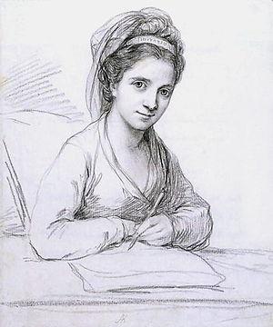 Angelica Kauffman - Self-Portrait as Imitatio. Pencil, 1771.