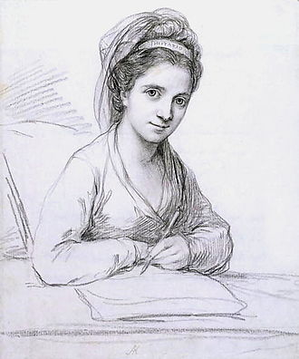 Angelica Kauffman - Self-Portrait as Imitatio. Pencil, 1771.