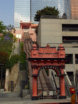 Angels Flight - Angels Flight, view from lower end during closure period (May 2004) while cars were placed in storage after an accident.