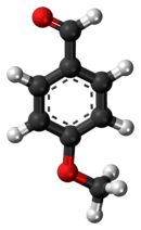 Ball-and-stick model of the anisaldehyde molecule