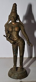 Anjani with Child Hanuman - Bronze - Pallava Period - ACCN 15-524 - Government Museum - Mathura 2013-02-24 6603.JPG