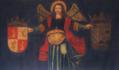 Anjo segurando as armas dos Manueis e dos Castros (séc. XVII) - Palácio Ficalho, Serpa.png
