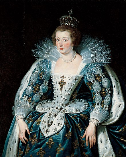 Anne of Austria, coronation costume, by Peter Paul Rubens Anna of Austria by Rubens (1622-1625, Norton Simon Museum).jpg