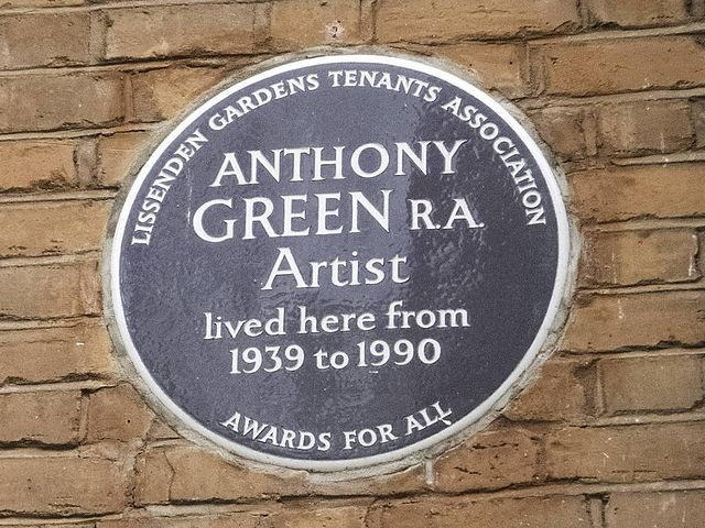 Anthony Green brown plaque - Anthony Green RA Artist lived here from 1939 to 1990