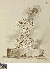 Antiek altaar met brandoffer