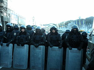 Anti-Maidan - Police guard the entrance to the 'Anti-Maidan' demonstration site on European Square, Kiev, on the morning of 14 December.
